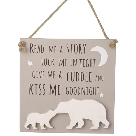 Kiss Me Goodnight Wooden Sign