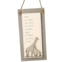Natural Wooden Giraffe Plaque