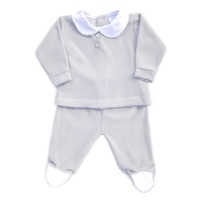 Wynne Velour Top & Pants Set - Grey