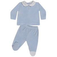 Wynne Velour Top & Pants Set - Blue