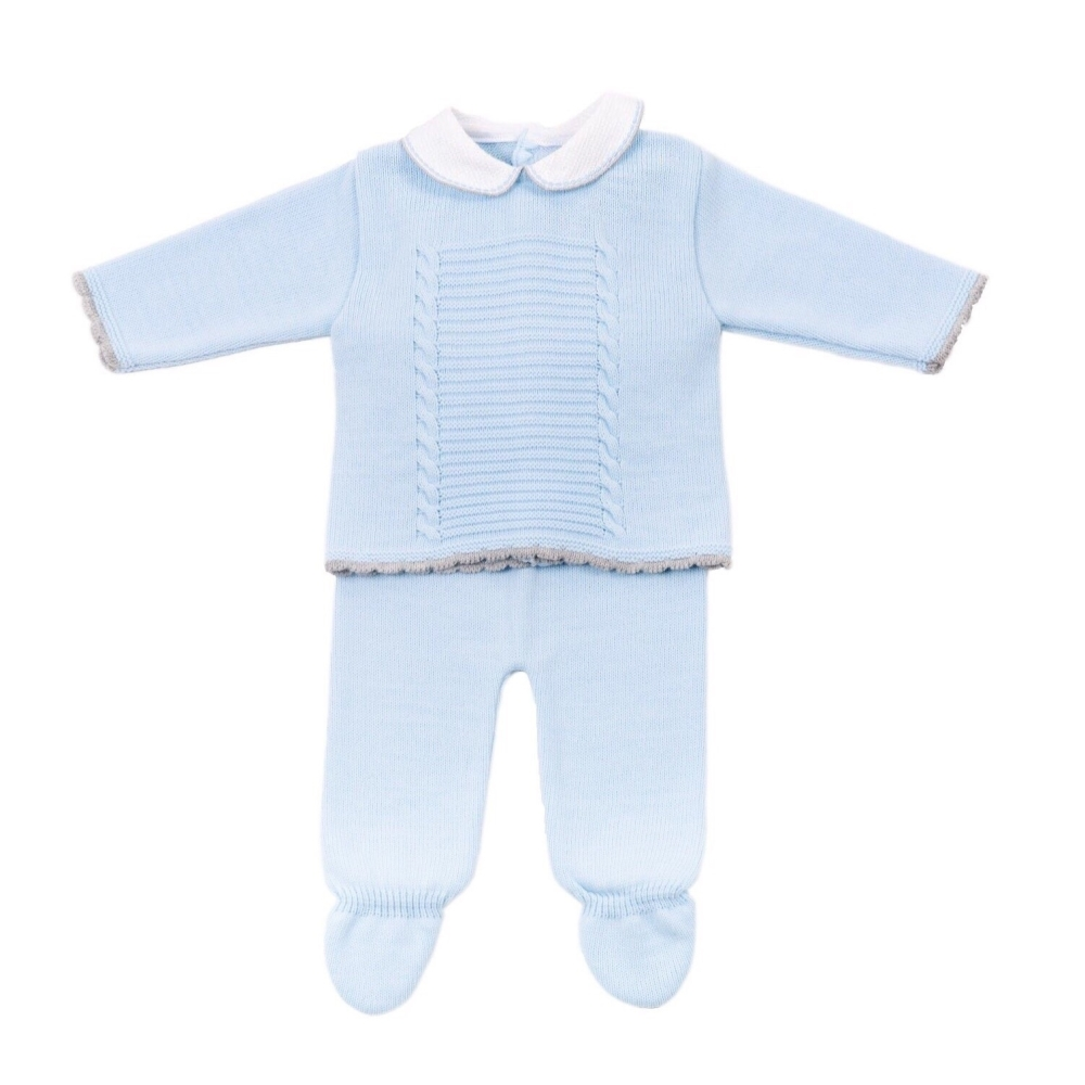 Milo Knitted Jumper & Pants Set - Blue