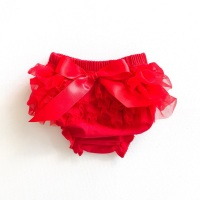 Tulle Frill & Bow Back Mini Bloomers - Red
