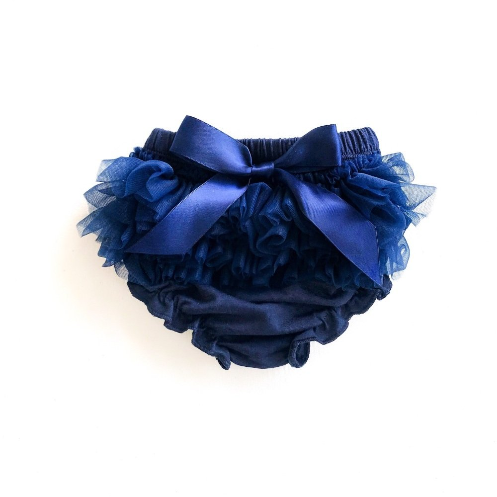 Tulle Frill & Bow Back Mini Bloomers - Navy