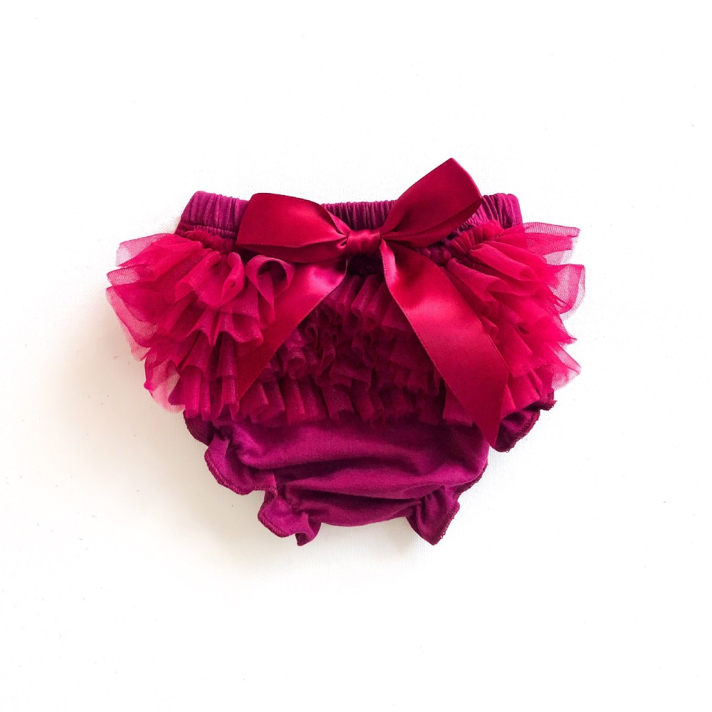 Tulle Frill & Bow Back Mini Bloomers - Merlot