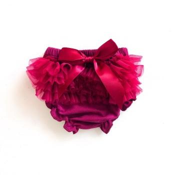 Tulle Frill & Bow Back Mini Bloomers - Merlot