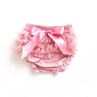 Tulle Frill & Bow Back Mini Bloomers - Rose