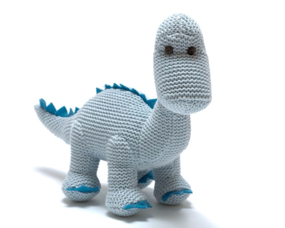 Organic Knitted Baby Dino Rattle - Blue
