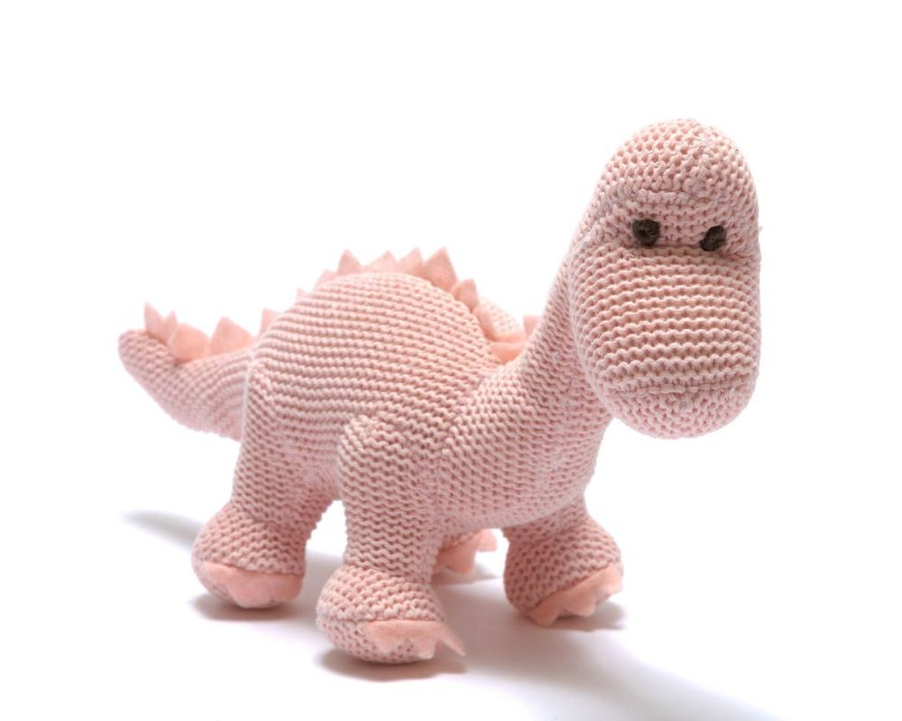 Organic Knitted Baby Dino Rattle - Pink