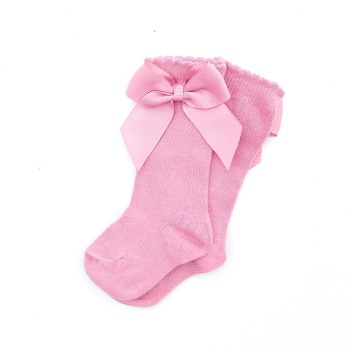 Carlomagno Knee High Socks With Bow - Tea Rose