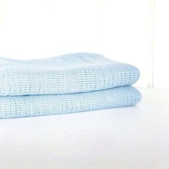 Cotton Cellular Blanket - Blue