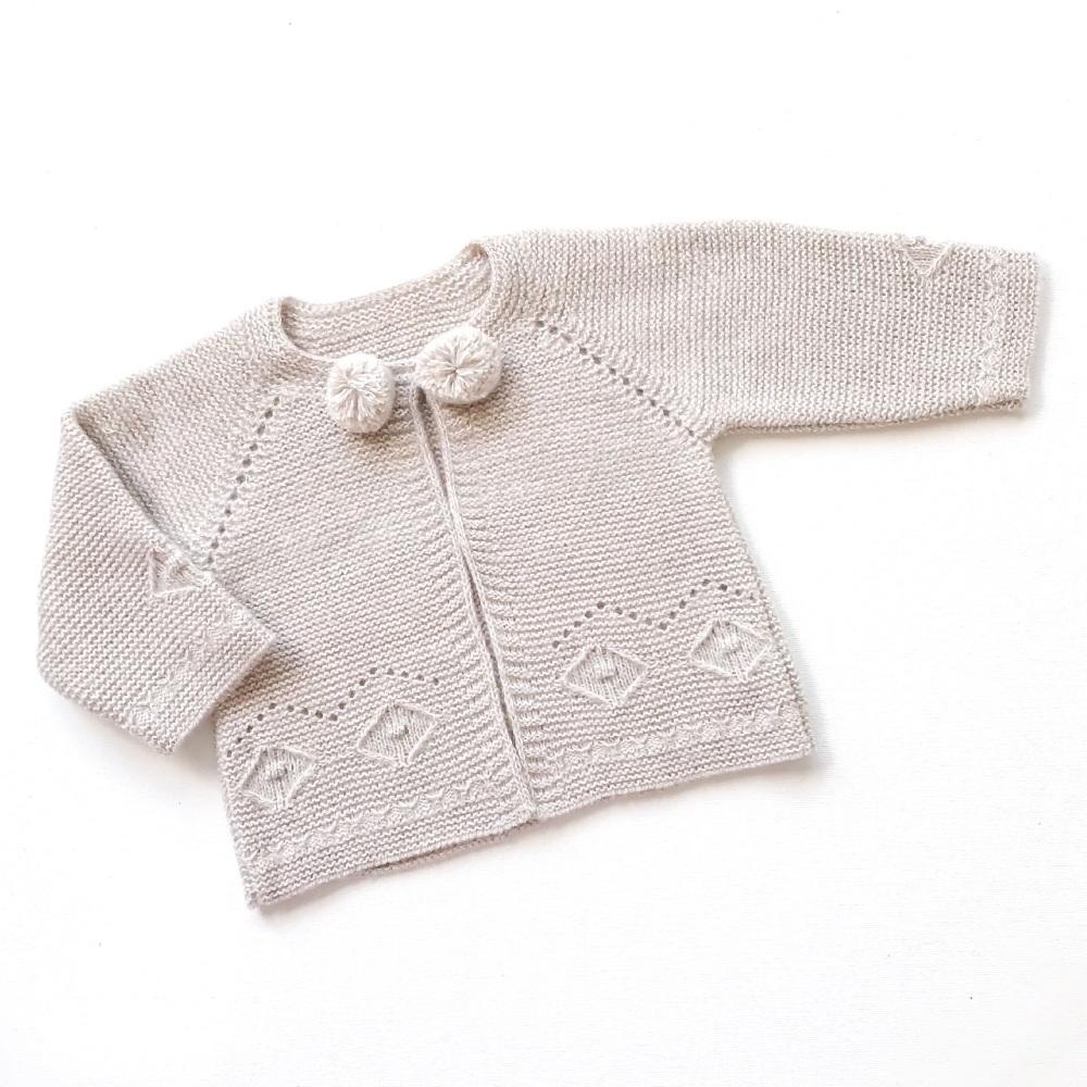 Asher Knitted Pom Pom Cardigan - Beige