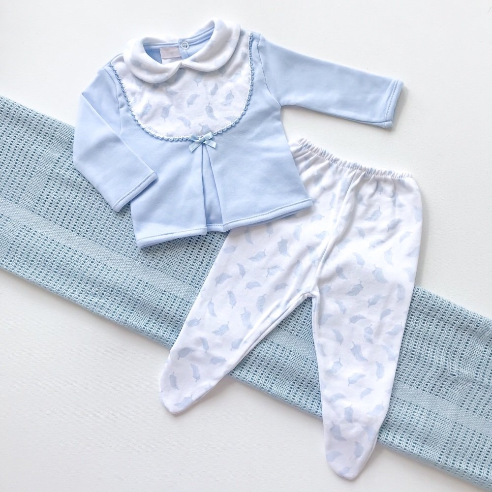 Little Feather Collared Top & Pants Set - Blue