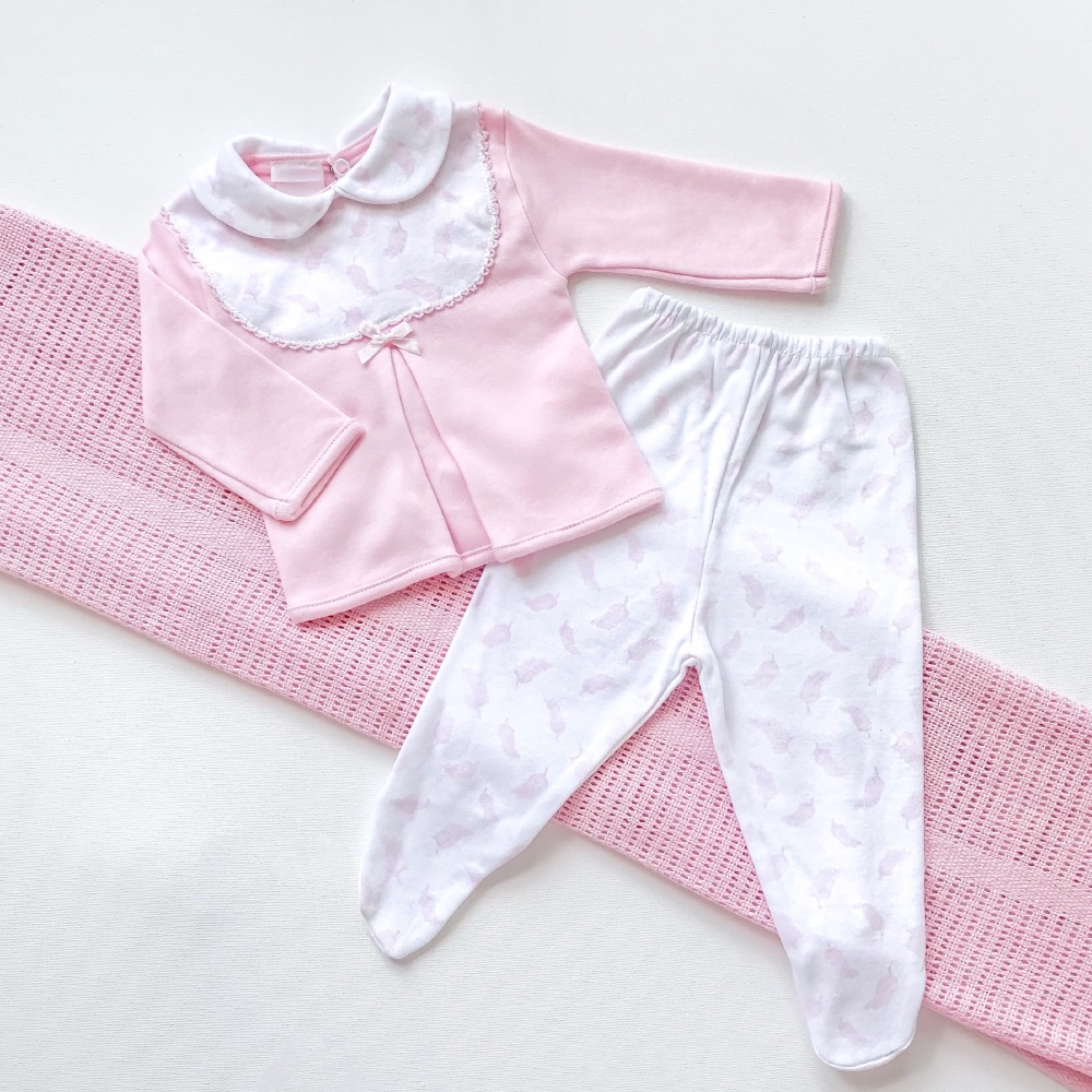 Little Feather Collared Top & Pants Set - Pink