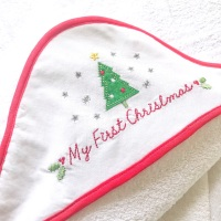 My First Christmas Hooded Towel
