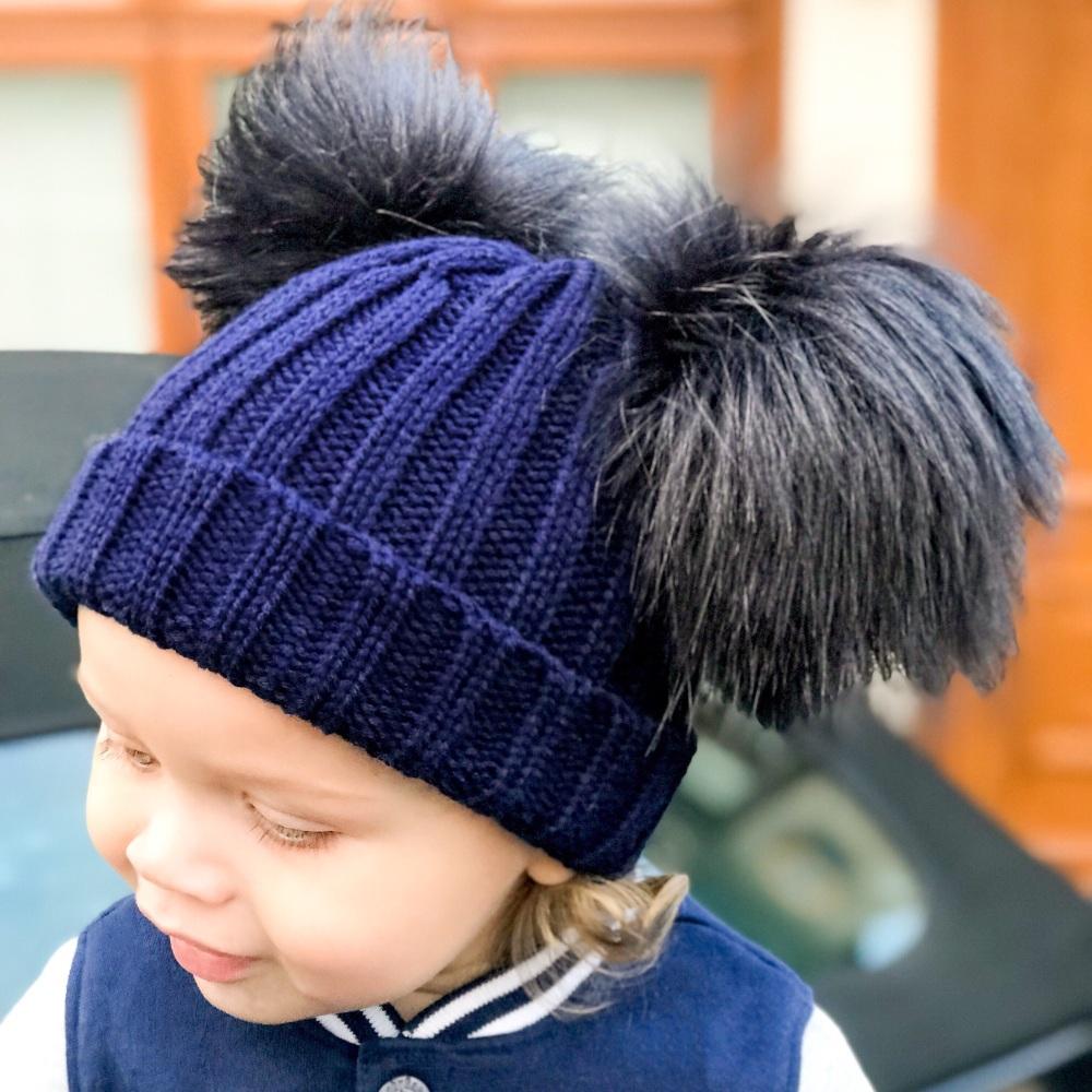 Double Fur Pom Hat - Navy