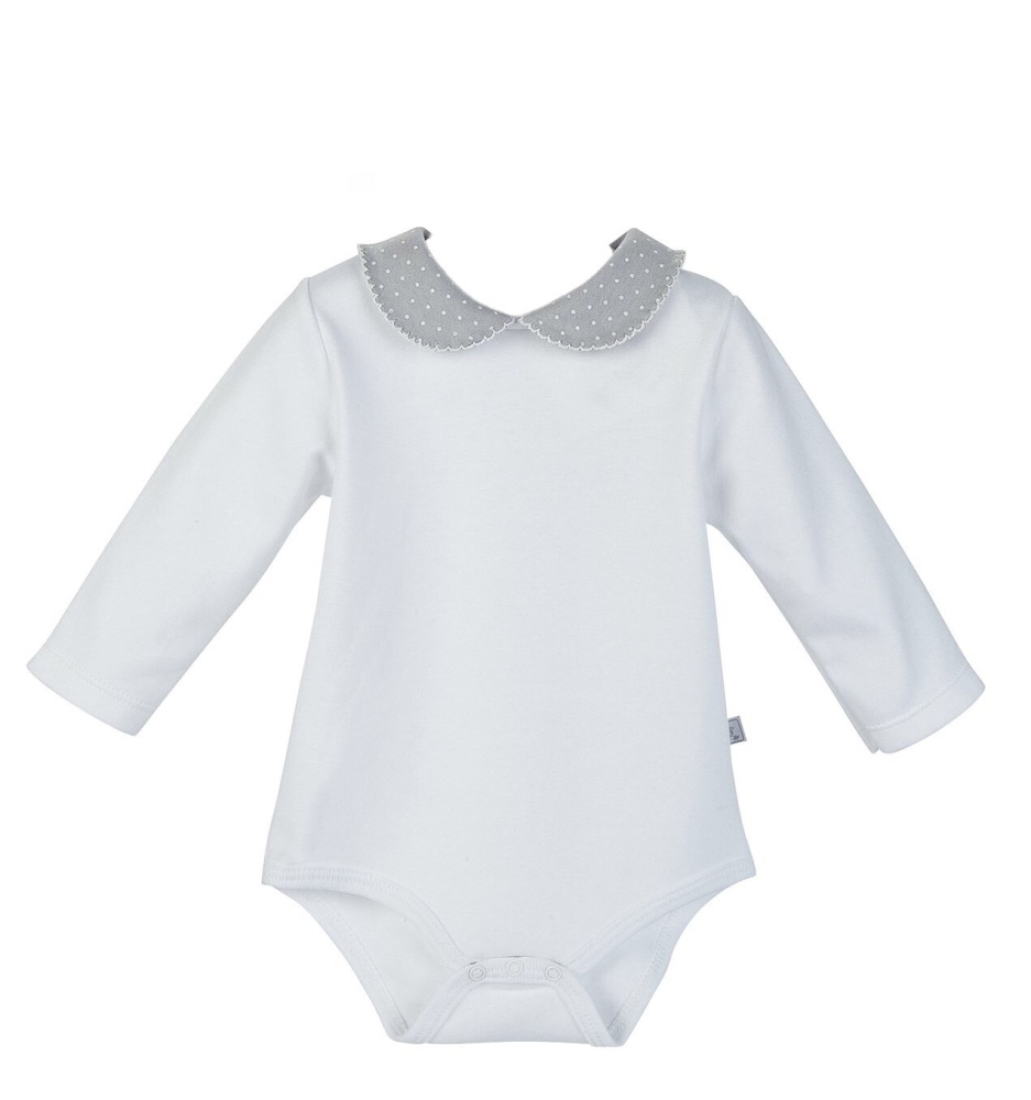 Long Sleeve Polka Dot Collar Bodysuit - White/Grey