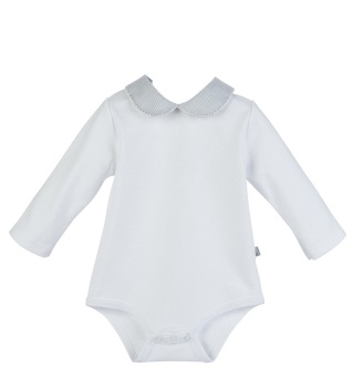 Long Sleeve Micro Stripe Collar Bodysuit - White/Grey