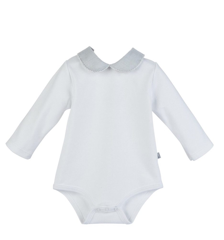 Long Sleeve Micro stripe Collar Bodysuit - White/Grey
