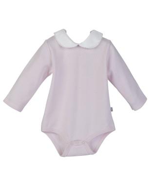 Long Sleeve Piquet Collar Bodysuit - Pink/White
