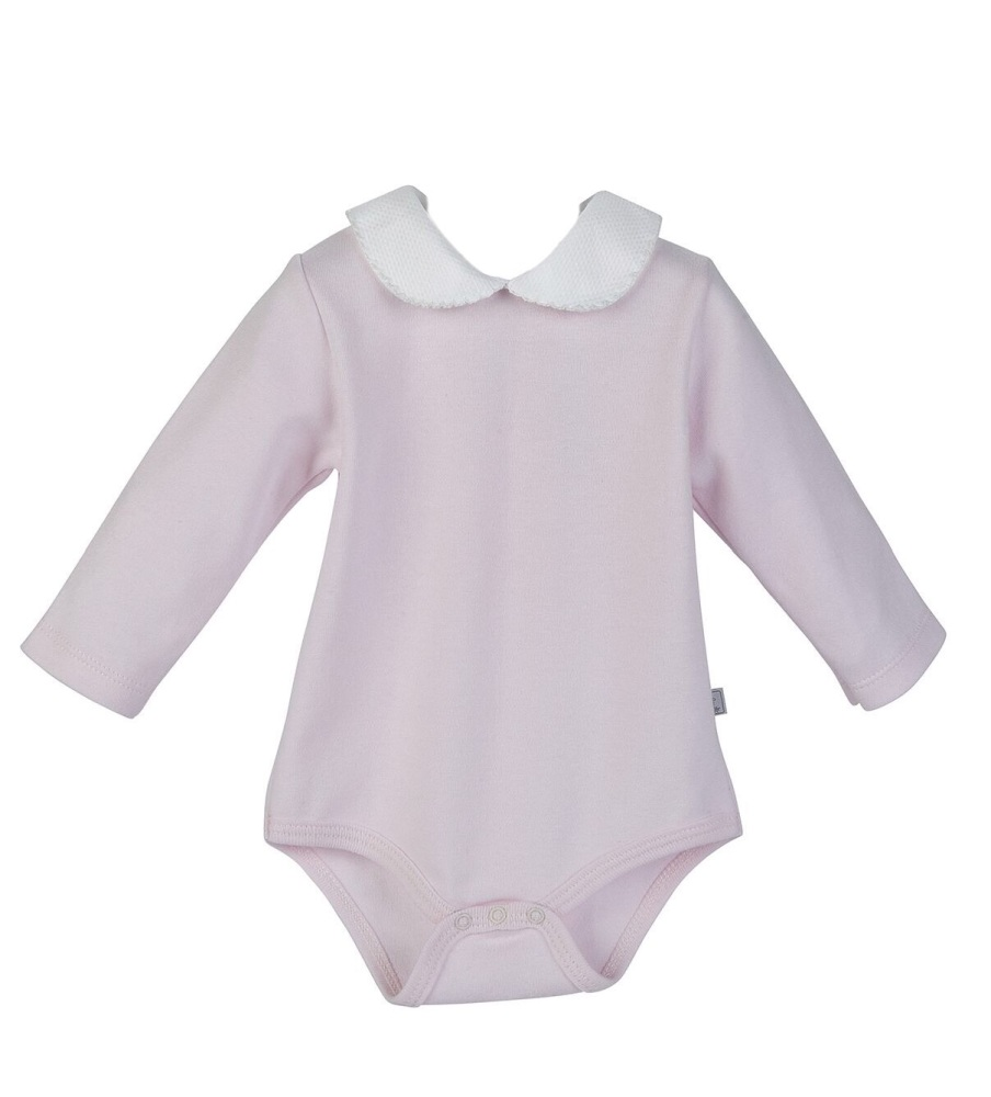 Long Sleeve Piquet Collar Bodysuit - Pink/White