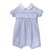 Lake Collared Smocked Romper - Blue
