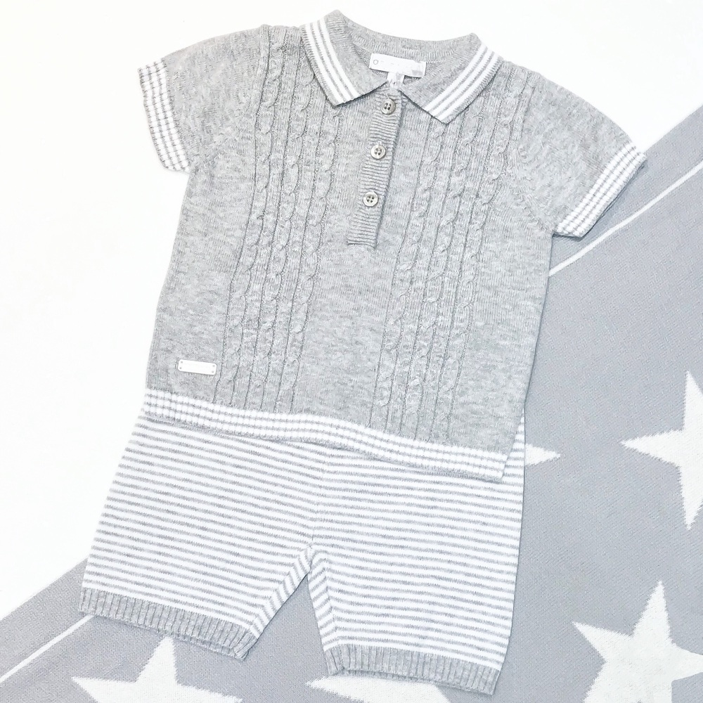 Austin Knitted Polo & Shorts Set - Grey