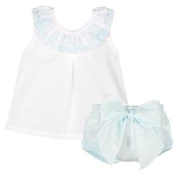 Amelia Frill Cami & Pants Set - Blue