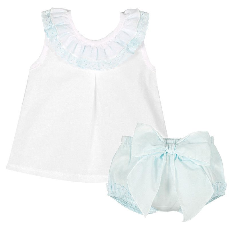 Amelia Frill Cami & Pants Set - Blue