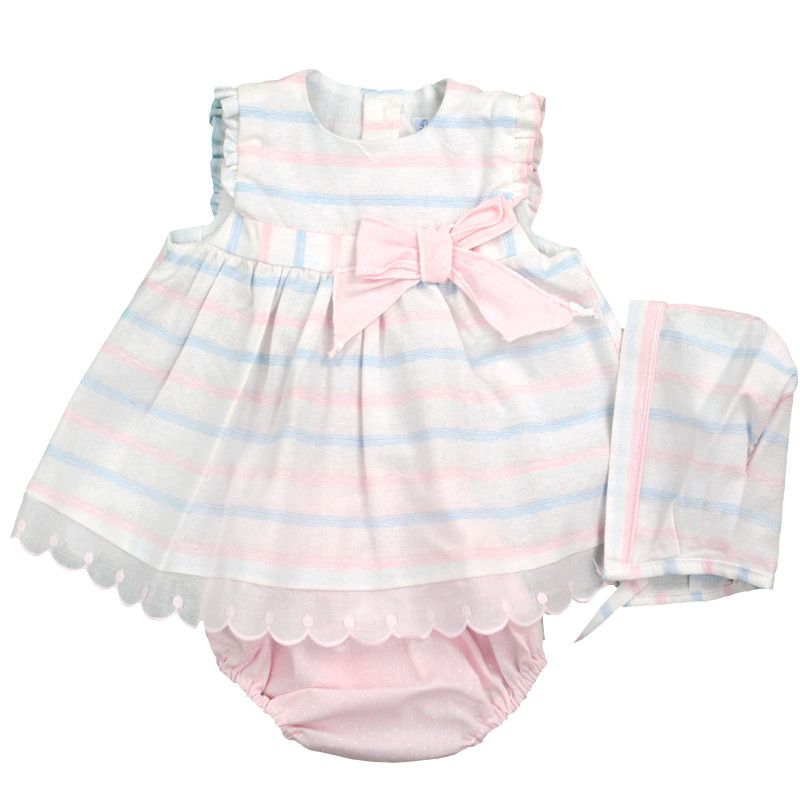 Marlowe Stripes Summer Dress & Bonnet Set
