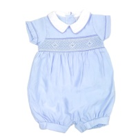 George Smocked Romper - Blue