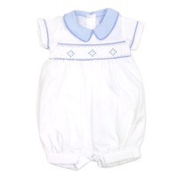 George Smocked Romper - White