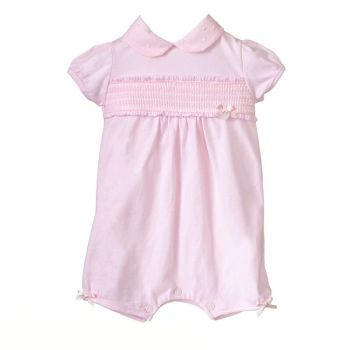 Lola Collared Smocked Romper - Pink
