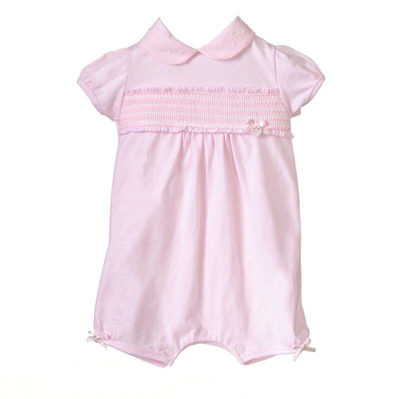 Lola Collared Smocked Romer - Pink
