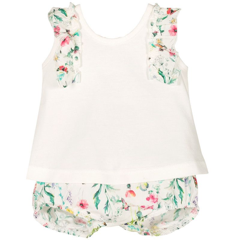 Nova Floral Bow Back Top & Bloomers Set