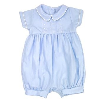 Roma Pin Tuck Romper - Blue