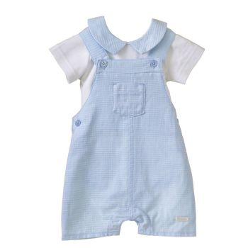 Ryder Collared Bodysuit & Dungaree Shorts Set - Blue
