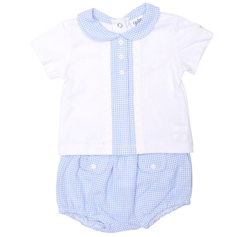 Felix Gingham Collared Top & Shorts Set - Blue
