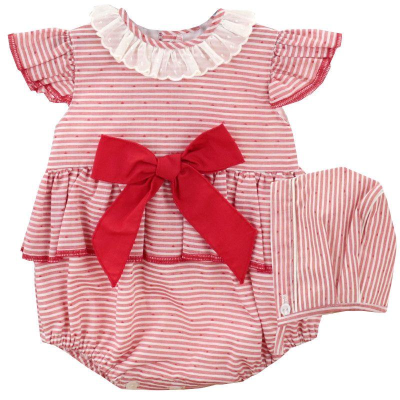 Poppy Stripped Romper & Bonnet - Red