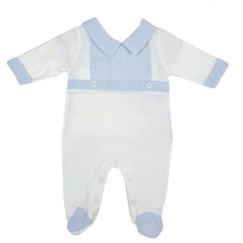 Jacob Gingham BabyGrow - White/Blue