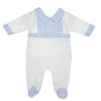Jacob Gingham BabyGrow - White/Blue