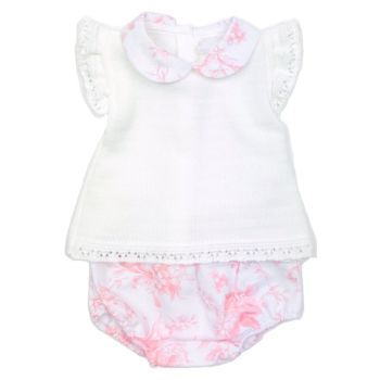 Nyla Rose Knitted Top & Bloomers - White/Pink