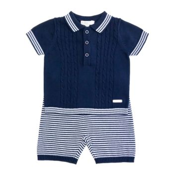 Austin Knitted Polo & Shorts Set - Navy