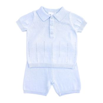 Ari Pointelle Knitted Top & Shorts Set - Blue