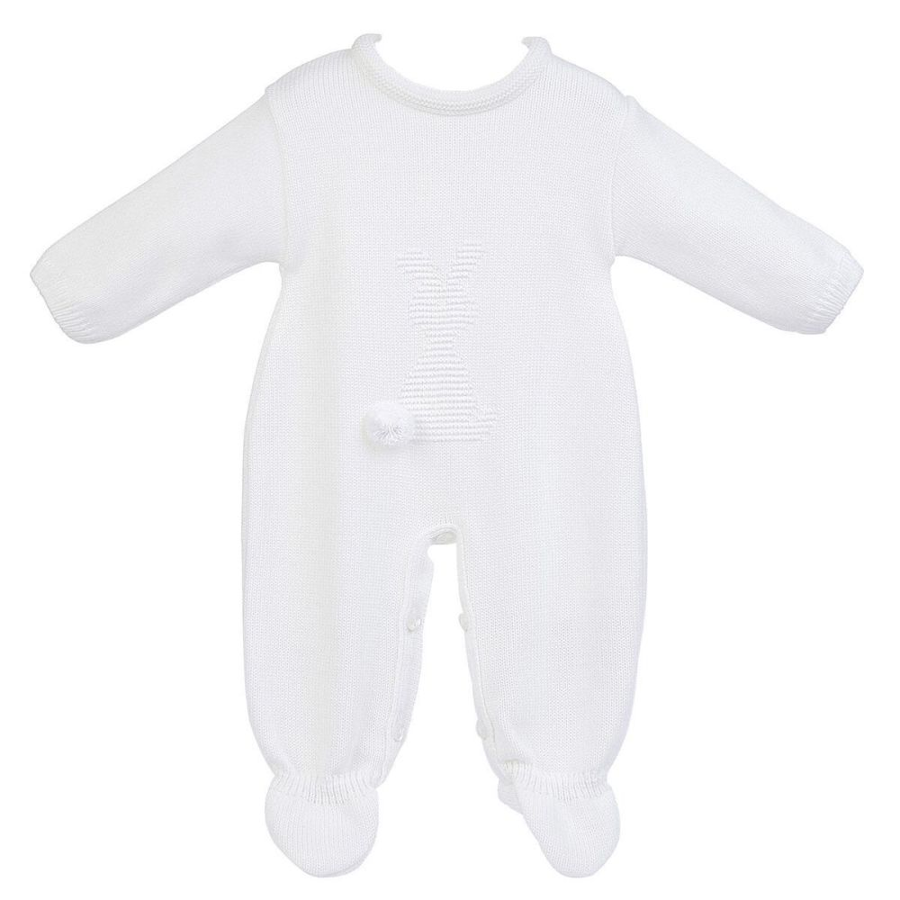 Little Bunny Knitted Onesie - White