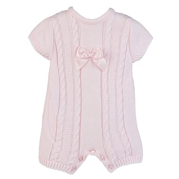 Mia Cable Knit Romper - Pink