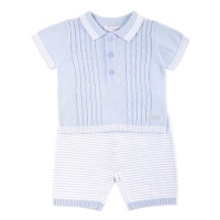 Austin Knitted Polo & Shorts Set - Blue