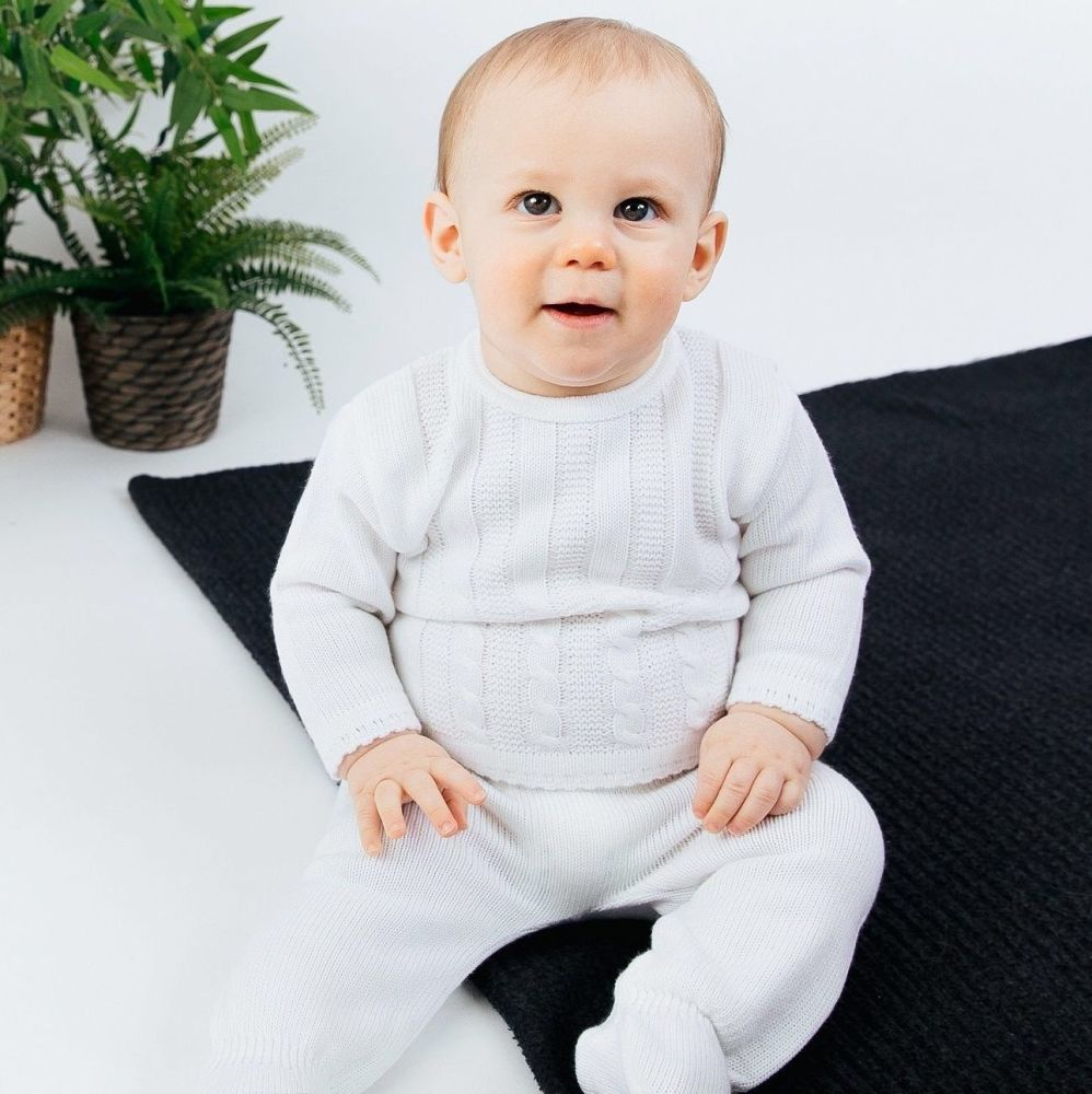Emery Cable Knit Jumper & Pants Set - White