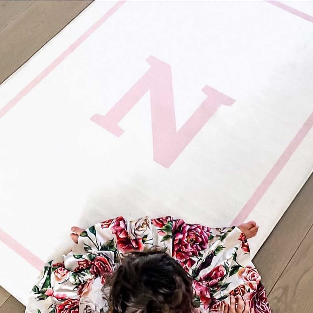NEW Personalised Play Carpet - White/Pink