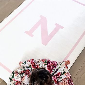 NEW Personalised Play Carpet - White & Pink