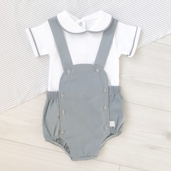 Jude Collared Top & Romper Set - Grey